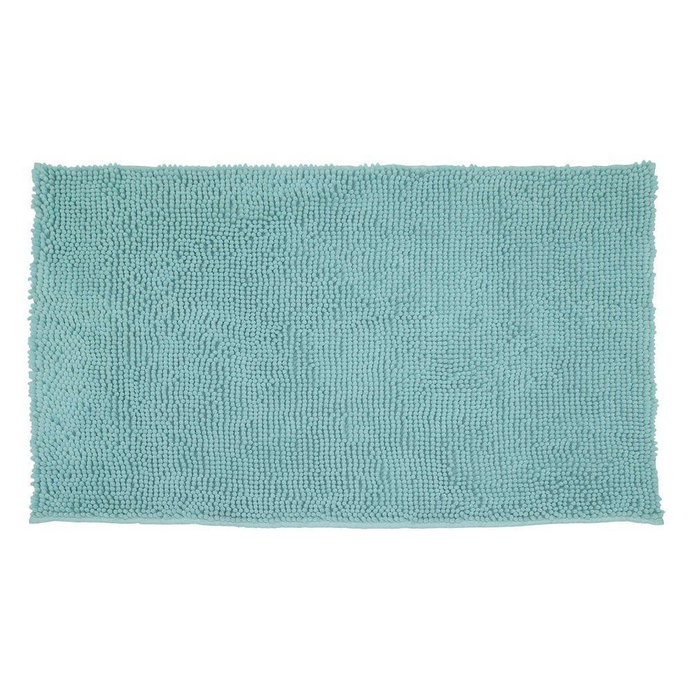 Plush Shag Chenille Aqua 21 in. x 34 in. Bath Rug