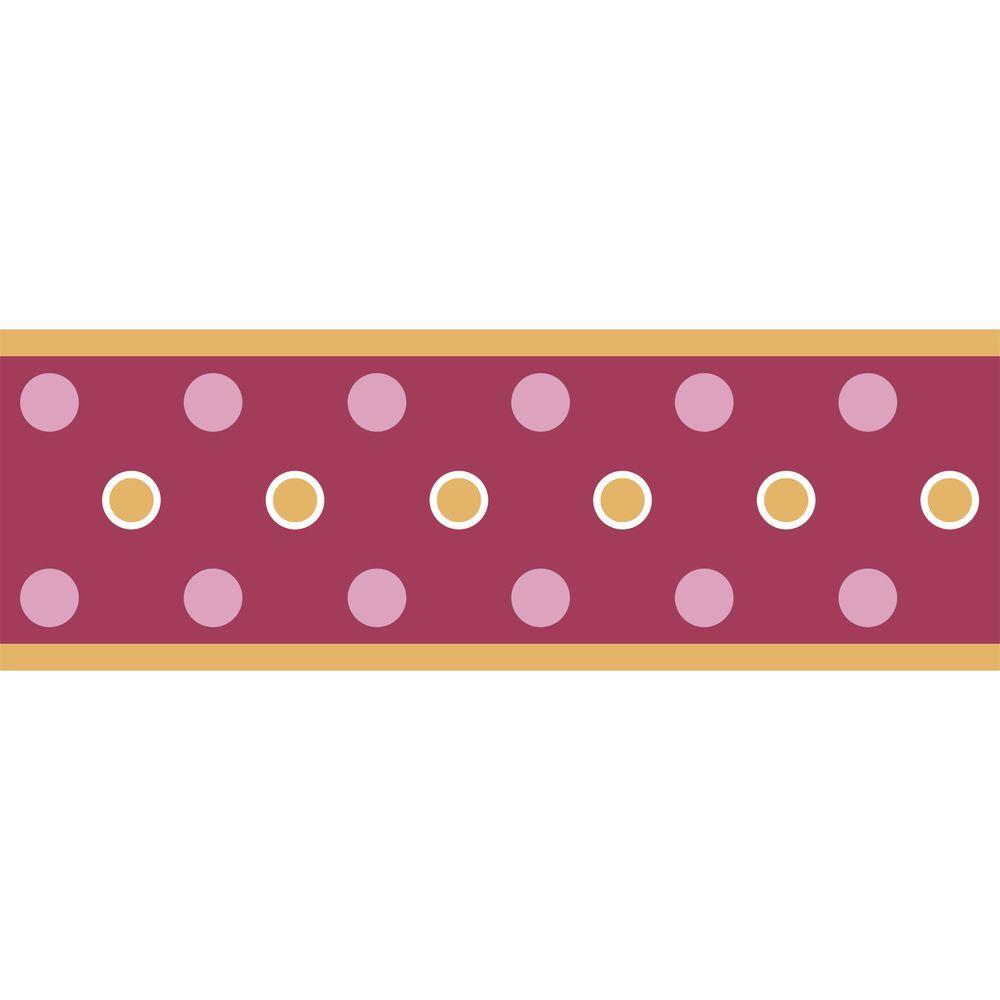 RoomMates 9.25 in. Raspberry Dot Peel and Stick Border