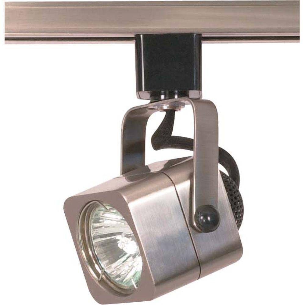 1-Light MR16 120-Volt Square Brushed Nickel Track Lighting Head