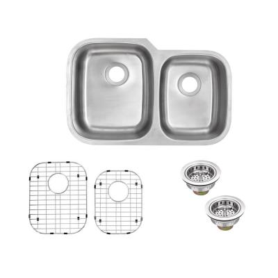 Undermount 16-Gauge Stainless Steel 32 in. 0-Hole 60/40 Double Bowl Kitchen Sink with Grid Set and Drain Assemblies