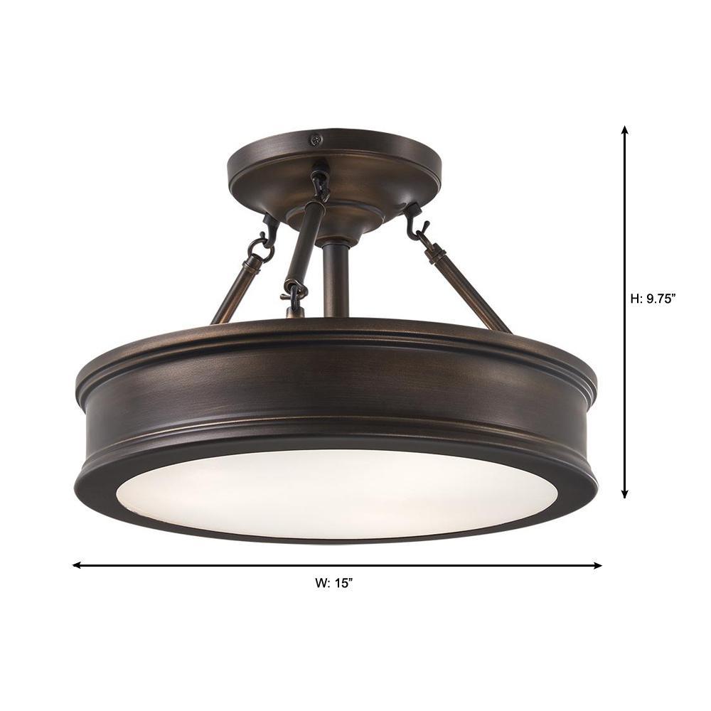 Home Decorators Collection Grafton 3 Light Hallmark Bronze Semi Flush Mount Ceiling Light 23959 The Home Depot