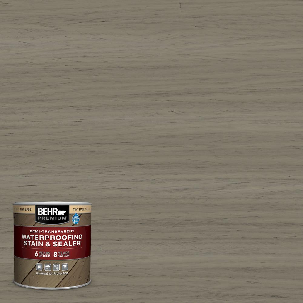 BEHR PREMIUM 8 oz. #ST-154 Chatham Fog Semi-Transparent Waterproofing Exterior Wood Stain and Sealer Sample