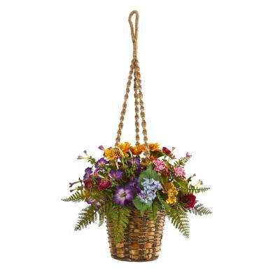 Indoor Mixed Floral Artificial Plant in Hanging Basket