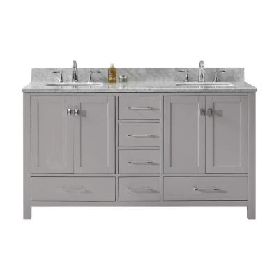 Virtu USA Caroline Avenue 60 in. W Double Bath Vanity in Cashmere Grey with Marble Vanity Top and Square Basin with Faucet