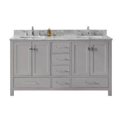 Caroline Avenue 60 in. W Double Bath Vanity in Cashmere Grey with Marble Vanity Top and Square Basin with Faucet