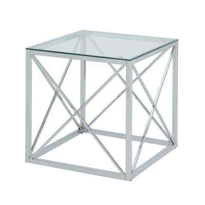Maren Chrome Cube Glass Top Accent Table