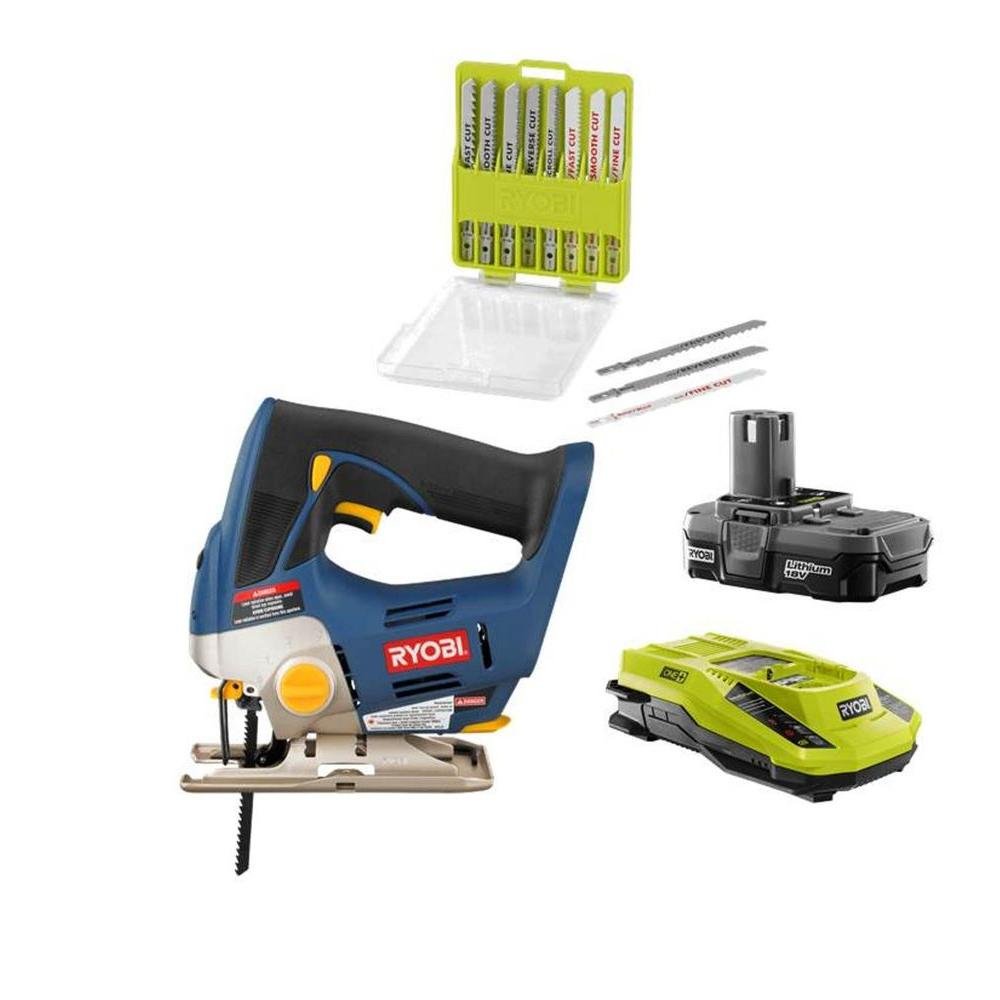 Ryobi 18-Volt ONE+ Jigsaw Kit with Blade Kit (20-Piece)