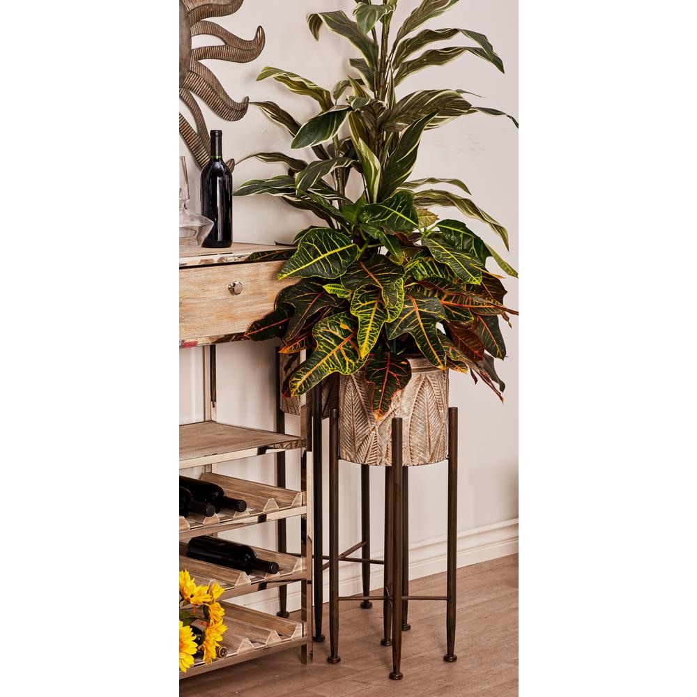 Gray and Silver Iron Planters with Stands (Set of 2)