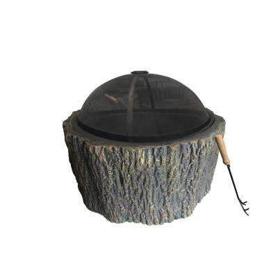 28 in. W x 23 in. H Round MGO Wood Stump Wood Burning Firepit
