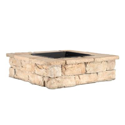 28 in. x 14 in. Steel Wood Fossill Brown Square Fire Pit Kit