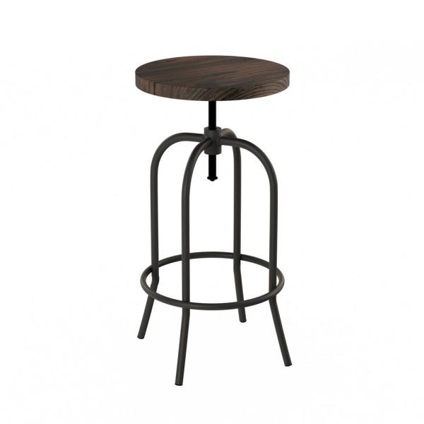 34.25 in. Adjustable Modern Backless Metal Swivel Bar Stool with Wooden Seat