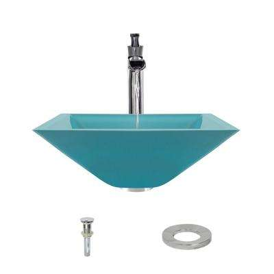 Glass Vessel Sink in Turquoise with 731 Faucet and Pop-Up Drain in Chrome