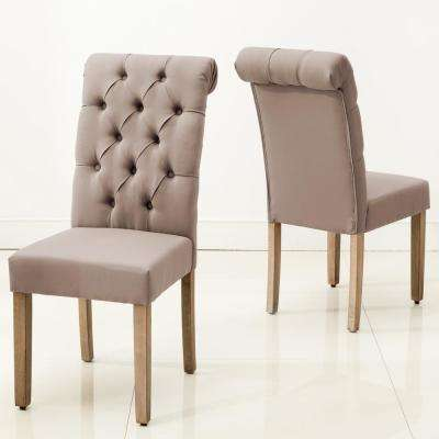 Natalie Roll Top Tufted Brown Linen Fabric Modern Dining Chair (Set of 2)