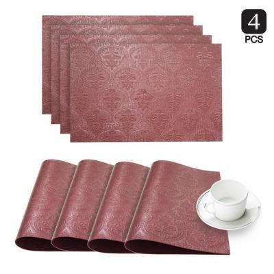 Venecia Burgundy Faux Leather Placemat (Set of 4)