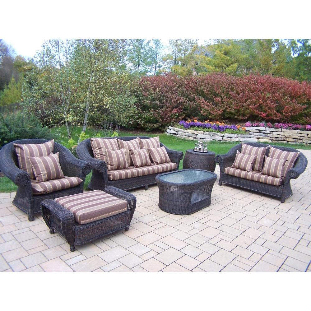 Oakland Living Cambridge 6 Piece Patio Conversation Set With Striped Maroon Cushions