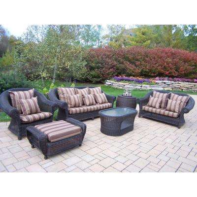 Cambridge 6-Piece Patio Conversation Set with Striped Maroon Cushions