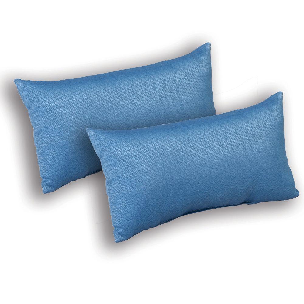 Plantation Patterns Coastal Blue Textured Outdoor Lumbar Pillow (2-Pack)-DISCONTINUED