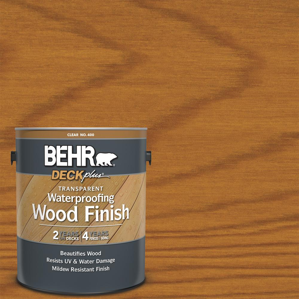 BEHR DECKplus 1 Gal. Natural Clear Transparent Waterproofing Exterior Wood Finish