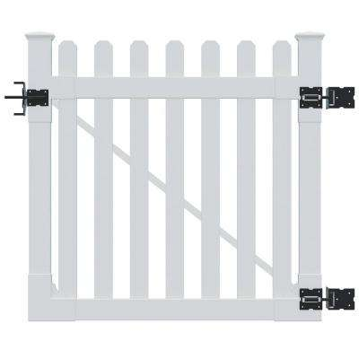 4 ft. H H x 4 ft. H W Premium Vinyl Classic Picket Gate with Powder Coated Stainless Steel Hardware