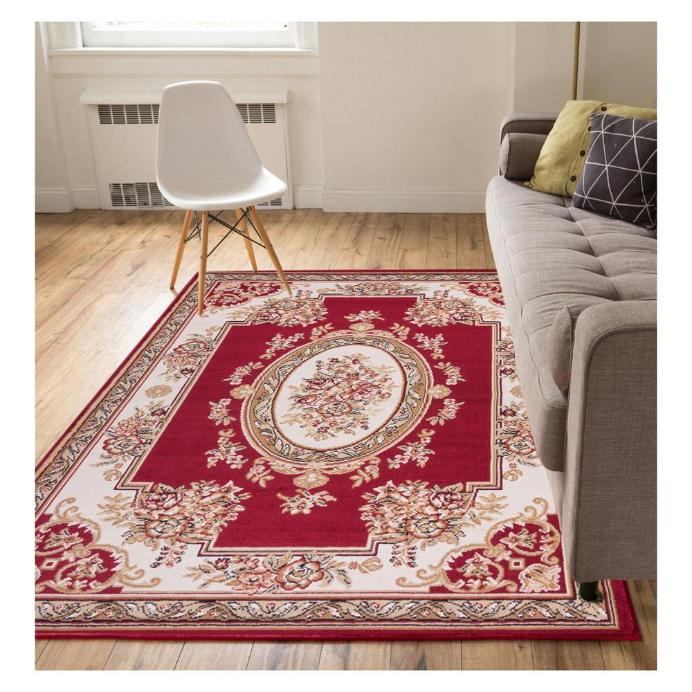 Well woven miami medallion centre traditional french aubsson red 2 ft x 4 ft area rug