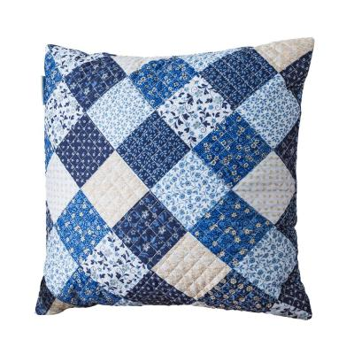 Olivia Blue Patchwork Quilted 18 in. x 18 in. Throw Pillow