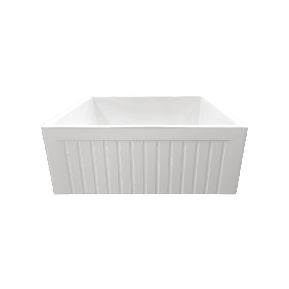 IPT Sink Company Apron Front Fireclay 24 in. Single Bowl Kitchen Sink in White