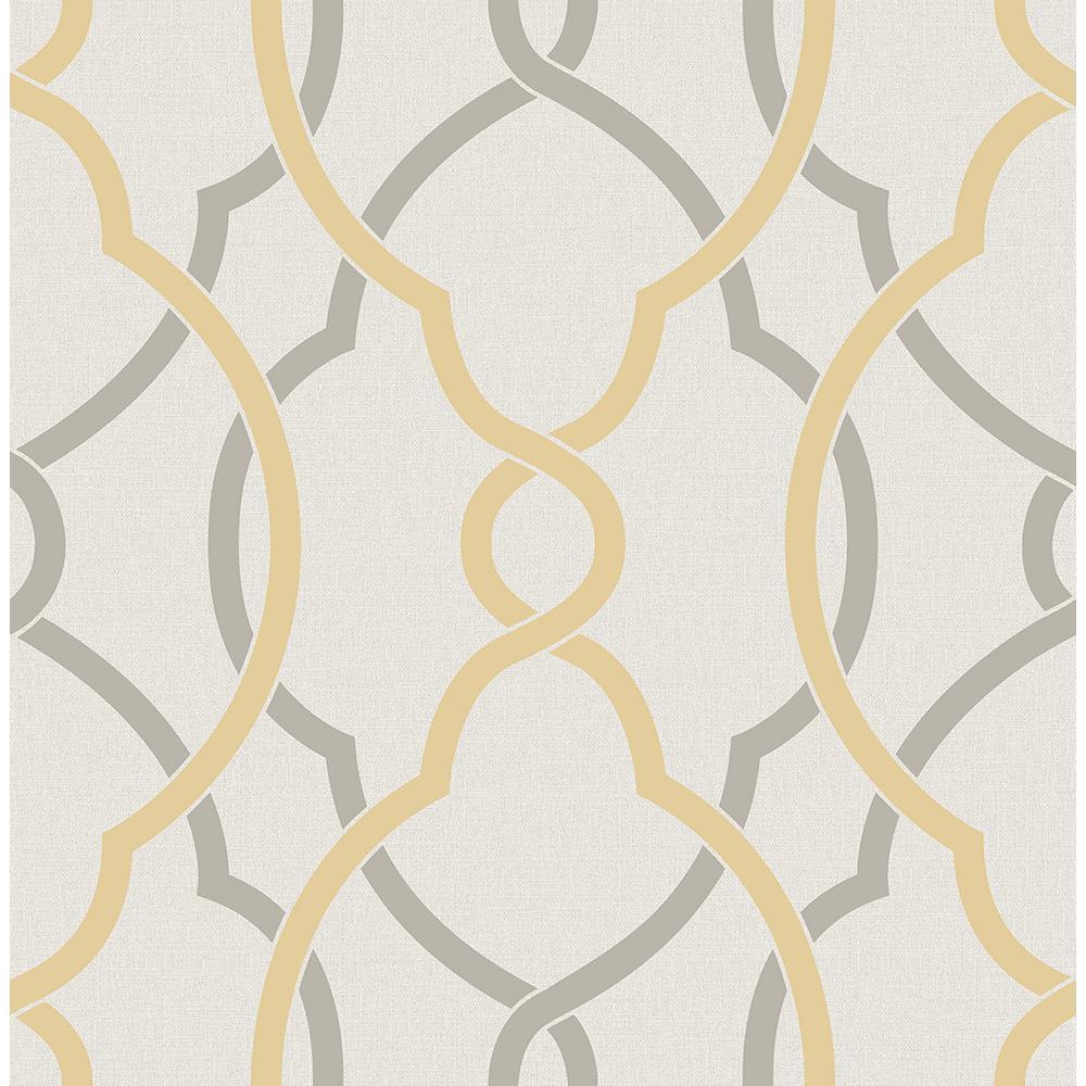 Sausalito Yellow Lattice Wallpaper Sample