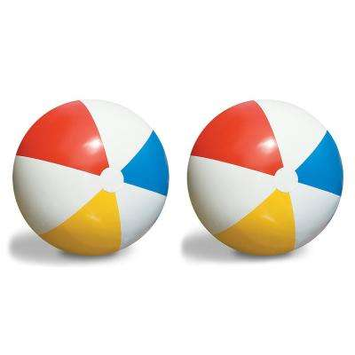 Inflatable 36 in. Pool Classic Rainbow Giant Beach Balls (2-Pack)