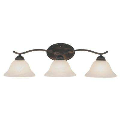 Hollyslope 3-Light Rubbed Oil Bronze CFL Bath Light with Marbleized Glass