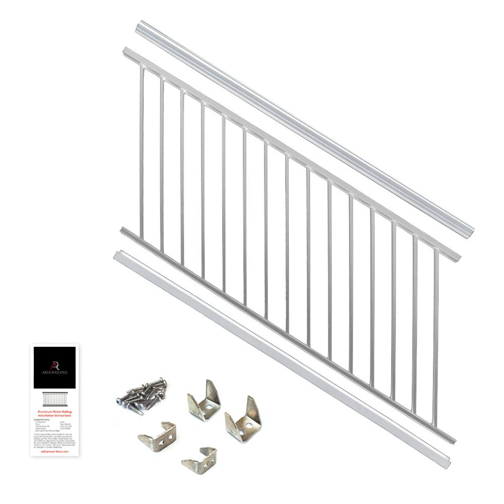 36 in. x 6 ft. White Powder Coated Aluminum Preassembled Deck