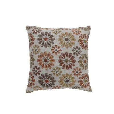 Kyra 22 in. Orange Contemporary Standards Throw Pillow