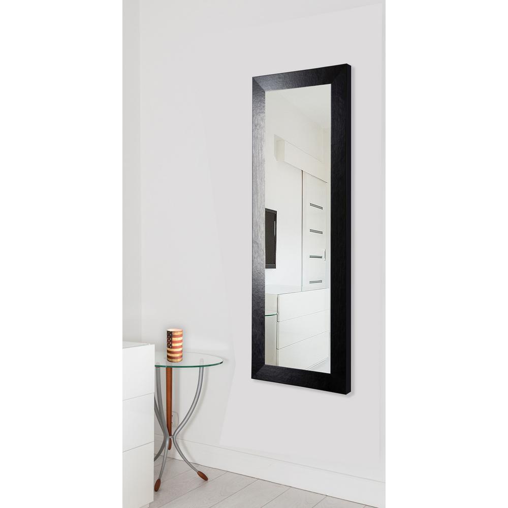 31 in. x 66 in. Vanity Black Wide Leather Non Beveled Vanity Floor Mirror