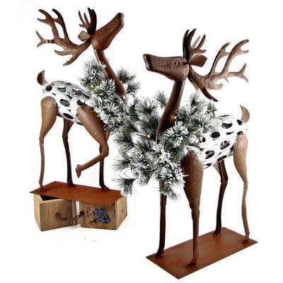 26 in. Christmas Reindeer with Christmas Wreath and LED Lights