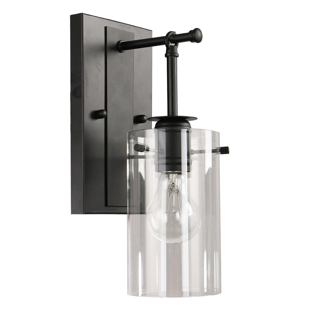 DSI Brooklyn Collection 1-Light Black Sconce with Clear Glass Shade