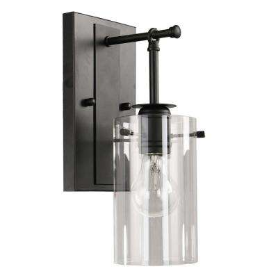 Brooklyn Collection 1-Light Black Sconce with Clear Glass Shade