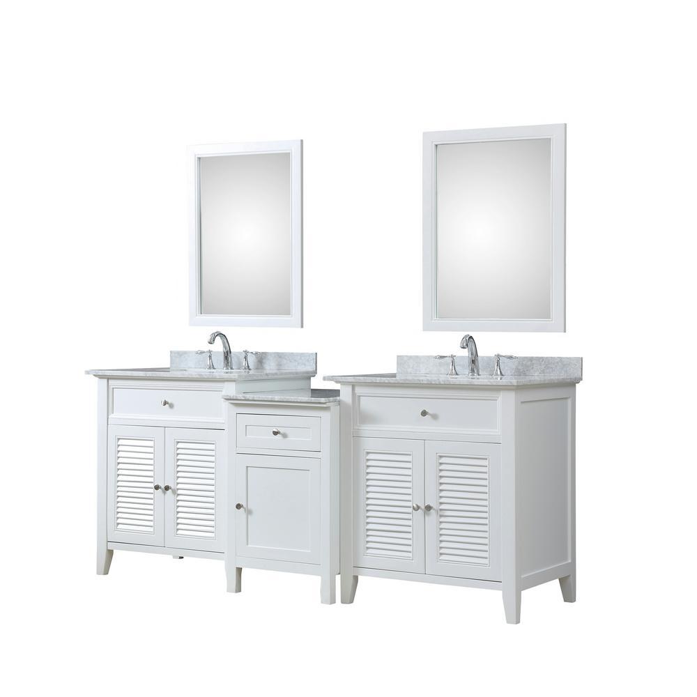 Direct vanity sink Shutter Hybrid Bath and Makeup 82 in. W Vanity in ...