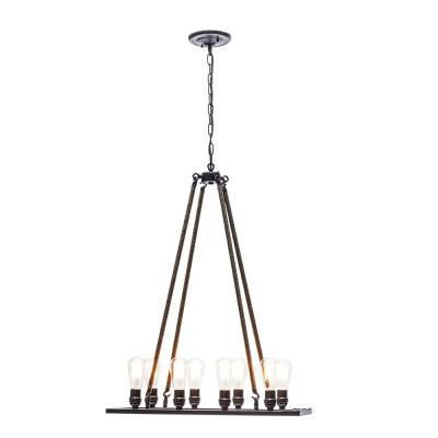 Vintage 8-Light Oil Rubbed Bronze Chandelier with Rope