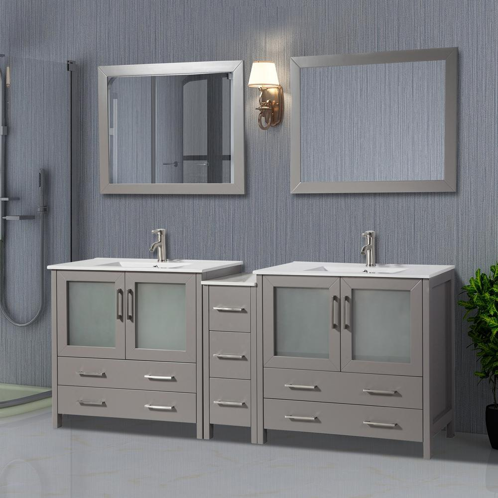 Vanity Art Brescia 84 in. W x 18 in. D x 36 in. H Bathroom Vanity in Grey with Double Basin Top in White Ceramic and Mirrors