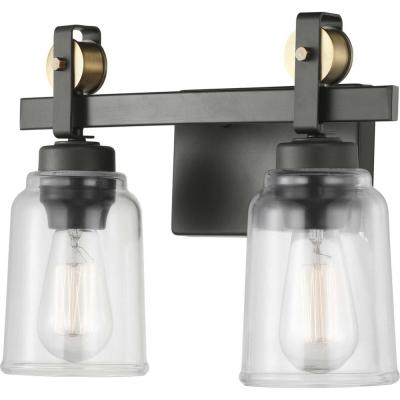 Knollwood 2-Light Antique Bronze Vanity Light with Vintage Brass Accents and Clear Glass Shades