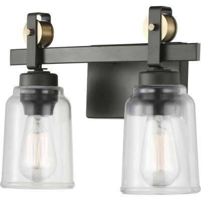 Knollwood 7 in. 2-Light Antique Bronze Vanity Light with Vintage Brass Accents and Clear Glass Shades