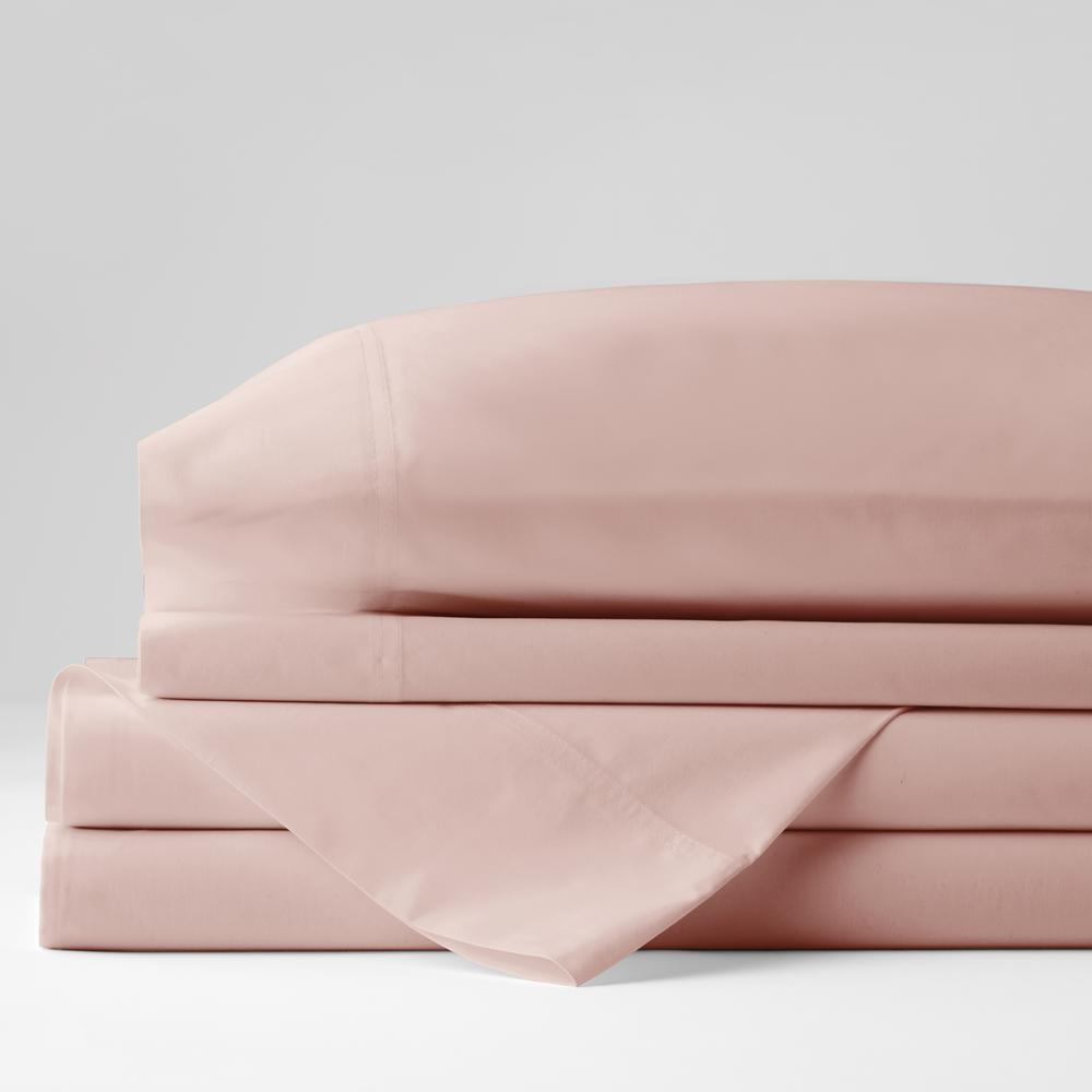 Organic 4-Piece Rose Quartz Solid 300 Thread Count Cotton Percale Full Sheet Set