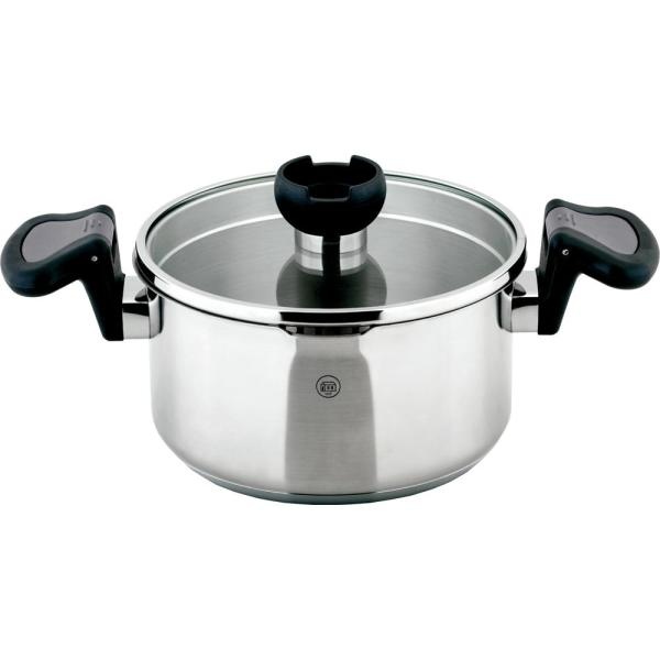1829 Carl Schmidt Sohn ARON 1.6 Qt. Stainless Steel Stock Pot with Swivel Handles and Strainer Lid