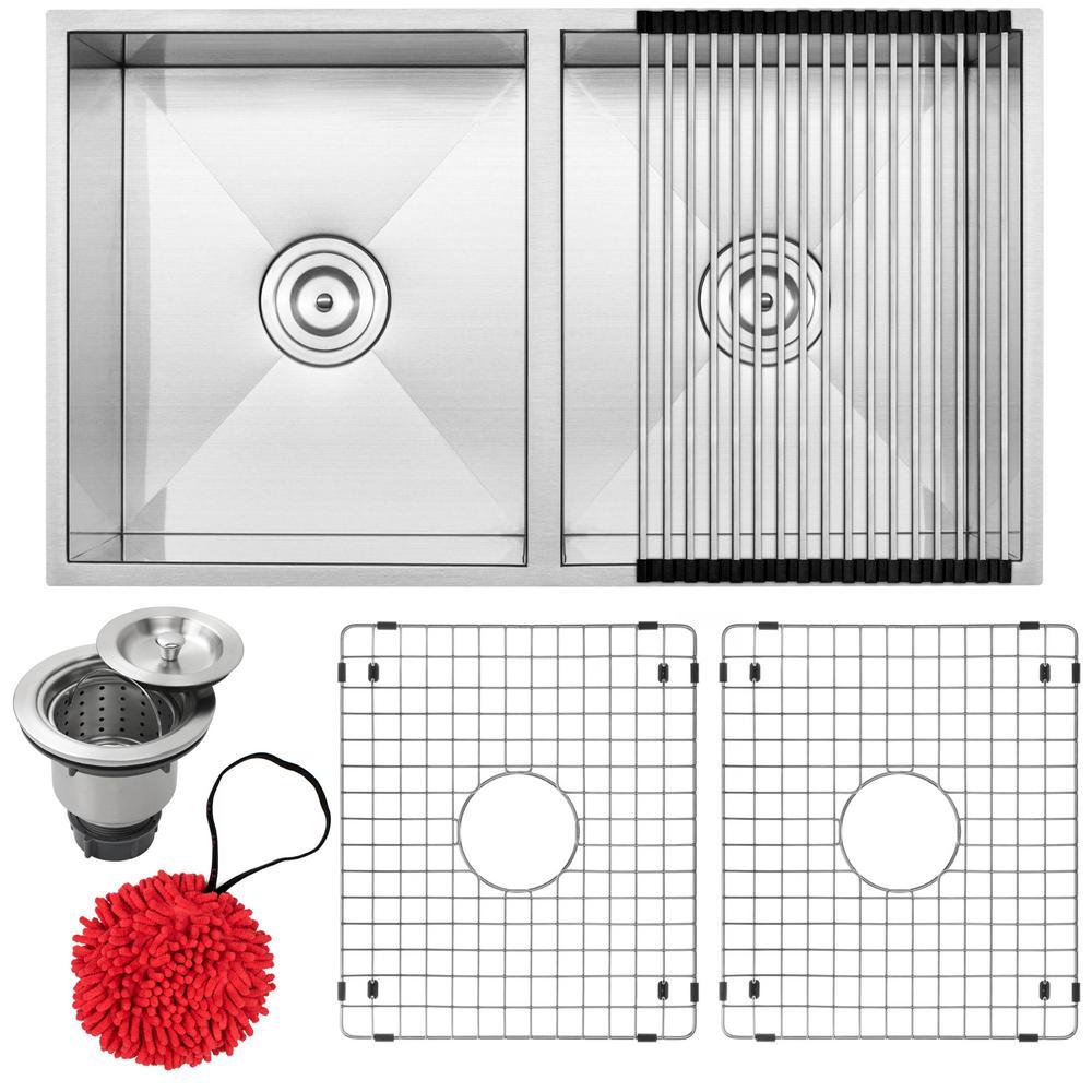 Pacific Zero Radius Undermount 16-Gauge Stainless Steel 31.25 in. 50/50 Double Basin Kitchen Sink with Accessory Kit
