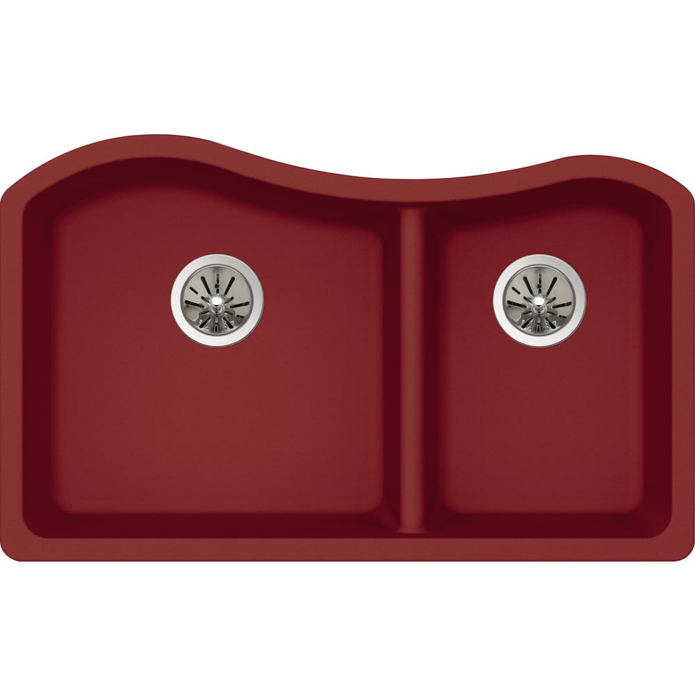 Elkay Quartz Luxe Undermount Composite 33 in. Rounded 50/50 Double on butterfly-shaped honey onyx sink, top mount farm sink, red cast iron kitchen sinks, red double fridge, red ceramic kitchen sinks, red kitchen sink hair products, bright colored cast iron sink, red chest of drawers, red bowl sink, cast iron undermount double sink, red double doors, red double windows, red toilet, red apron sink, red bathroom, red porcelain sink, red undermount kitchen sink, red deep kitchen sink,