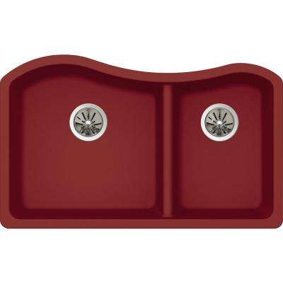 Quartz Luxe Undermount Composite 33 in. Rounded 50/50 Double Bowl Kitchen Sink in Maraschino