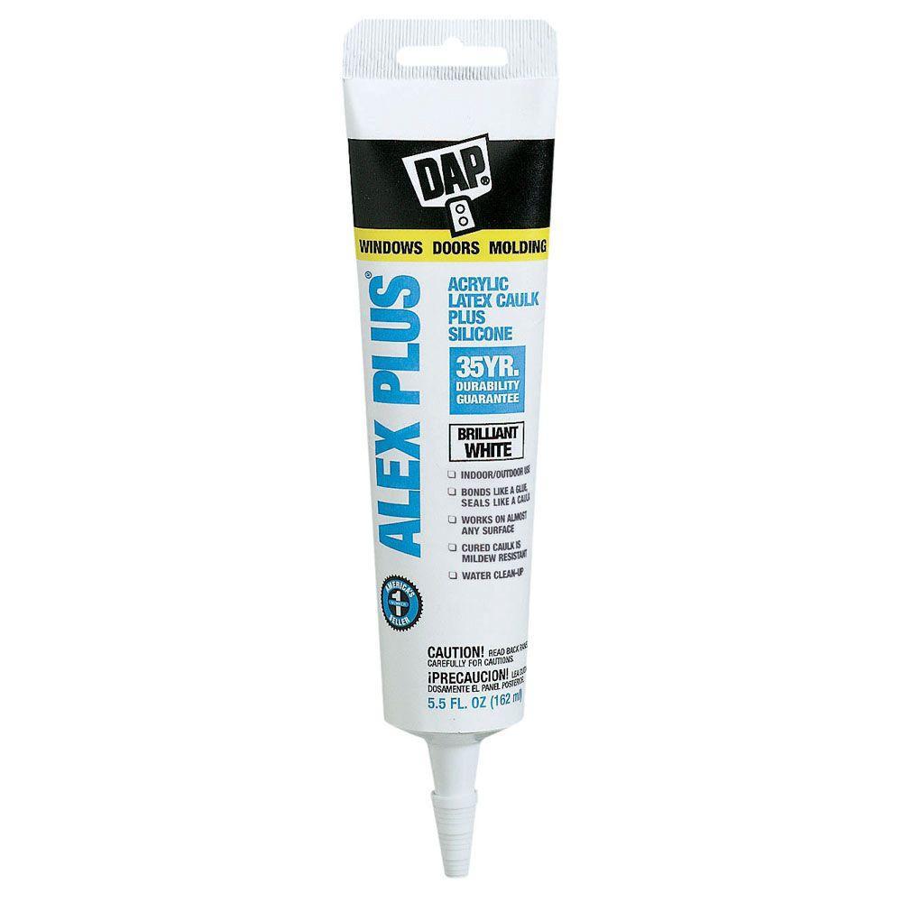 DAP Alex Plus 5.5 oz. White Acrylic Latex Caulk Plus Silicone (12-Pack)