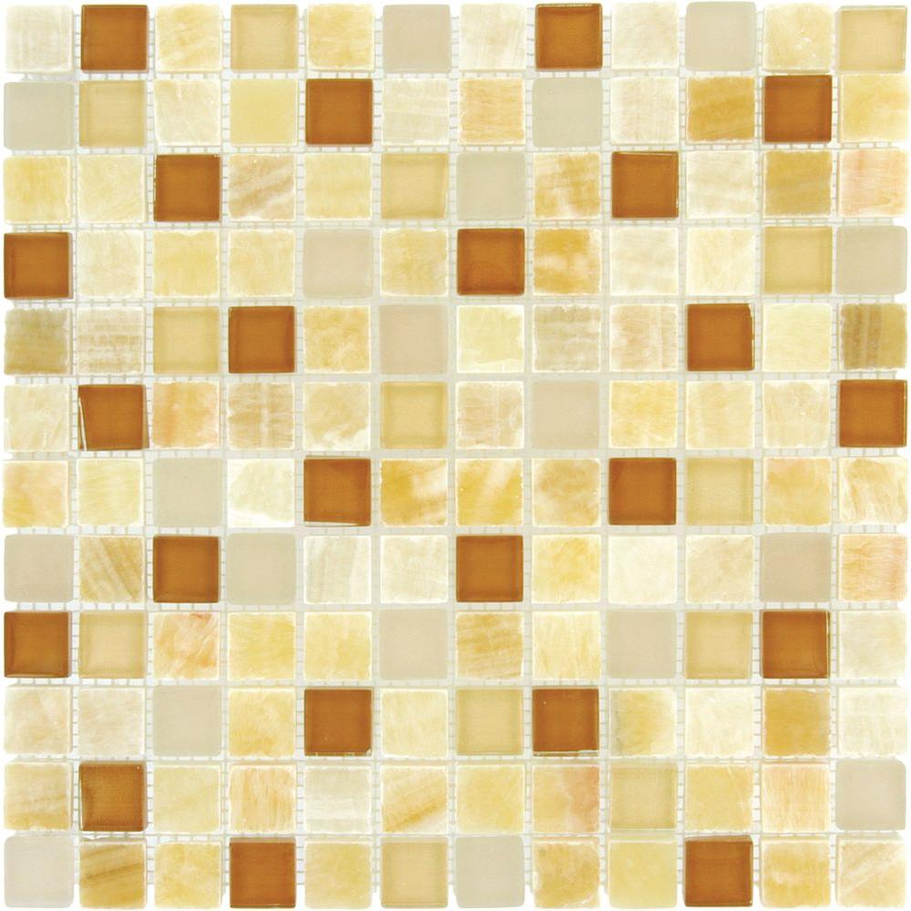 Ms international honey onyx caramel 12 in x 12 in x 8 mm for Installing glass tile with mesh back