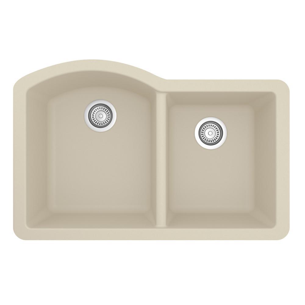 Karran Undermount Quartz Composite 32 in. 60/40 Double Bowl Kitchen Sink in Bisque