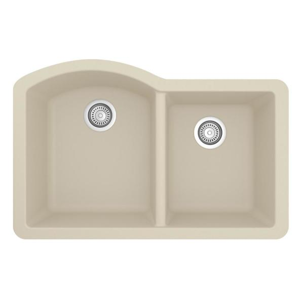 Undermount Quartz Composite 32 in. 60/40 Double Bowl Kitchen Sink in Bisque