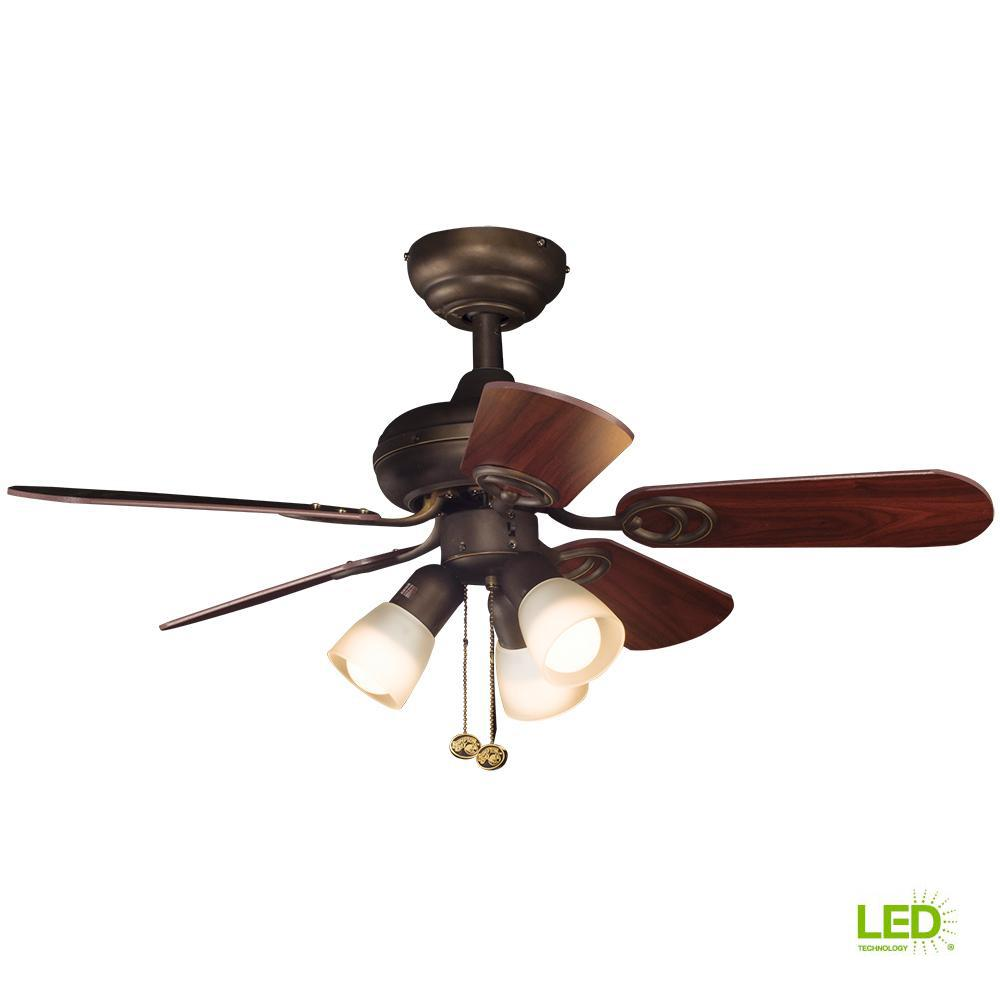 Hampton Bay San Marino 36 in. LED Indoor Oil Rubbed Bronze Ceiling Fan with  Light